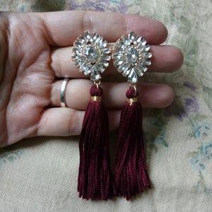 Vintage Rhinestone Burgundy Tassel Fringe Earrings